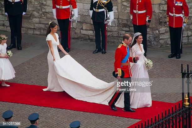 Newlywed couple HRH Prince William of Wales and his wife Catherine leaving Westminster Abbey after the End of the Wedding Ceremony London UK