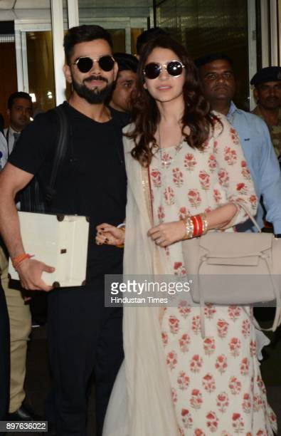 Newlywed couple Indian Cricket Captain Virat Kohli and Bollywood actress Anushka Sharma arrived at Mumbai Airport after wedding on December 22 2017...