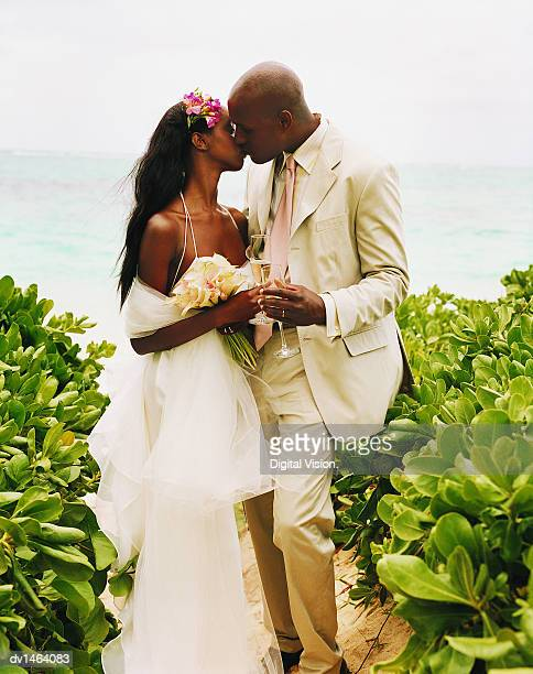 newlywed couple kiss on the path to a beach - honeymoon stock pictures, royalty-free photos & images