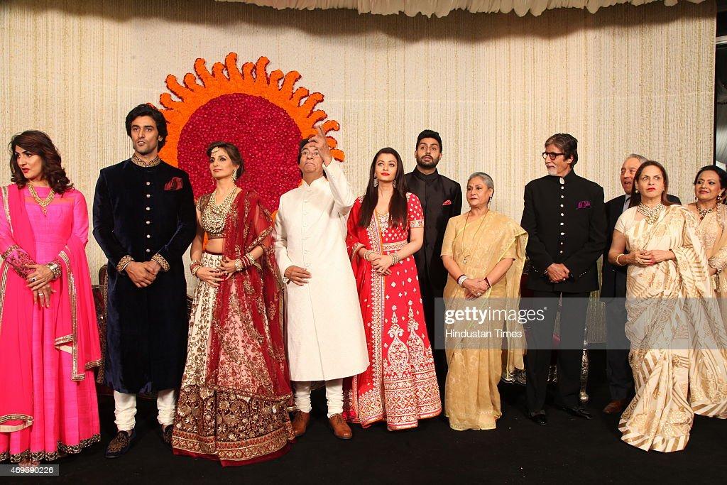 Newlywed couple Kunal Kapoor and Naina Bachchan pose with Brides parents Ajitabh Bachchan and Ramola Bachchan Uncle and Bollywood actor Amitabh...