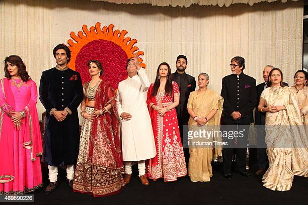Newlywed couple Kunal Kapoor and Naina Bachchan pose with Brides parents Ajitabh Bachchan and Ramola Bachchan Uncle and Bollywood actor Amitabh...