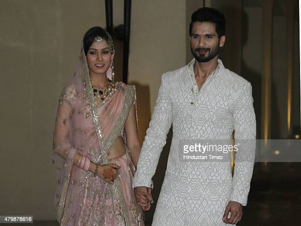 Newlywed couple of Bollywood actor Shahid Kapoor and Mira Rajput pose for their first photo op post wedding at Hotel Trident on July 7 2015 in...