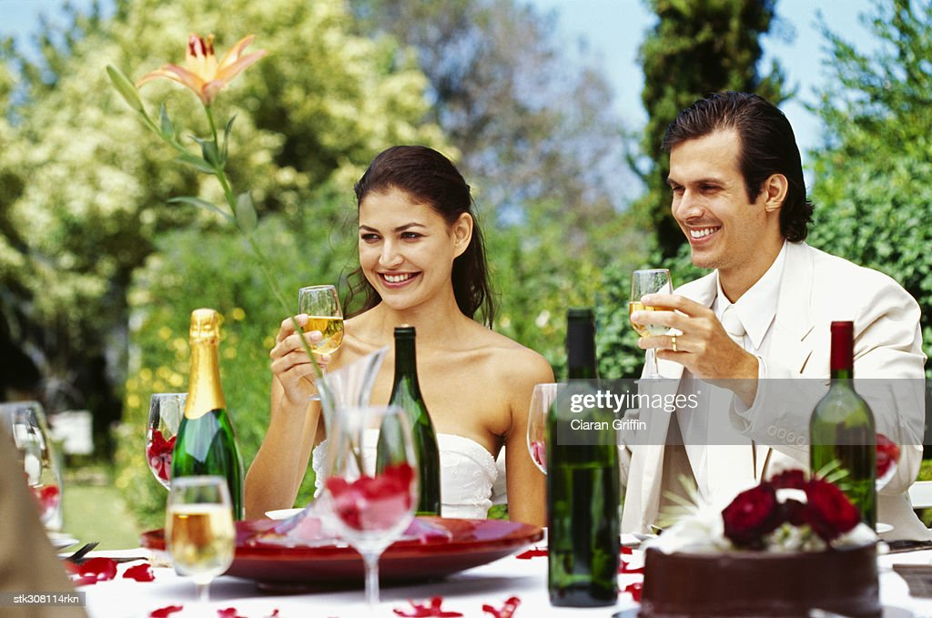 Newlywed Couple Raising A Toast At Their Wedding Reception Stock