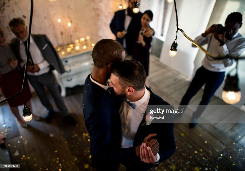 Newlywed Gay Couple Dancing on Wedding Celebration : Stock Photo