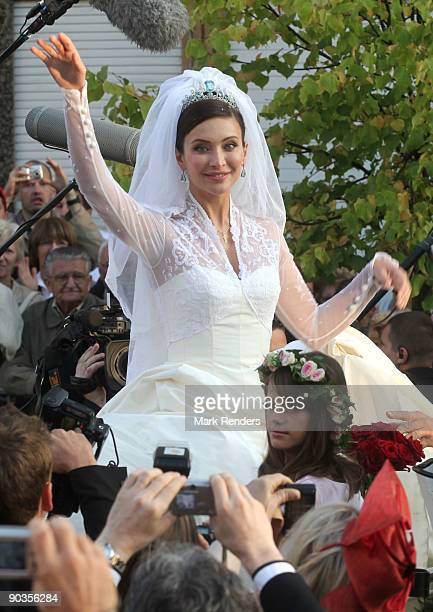 Newlywed Isabella Orsini leaves the Antoing church after her wedding to Prince Edouard de Ligne de la Tremoille on September 5 2009 in Antoing Belgium
