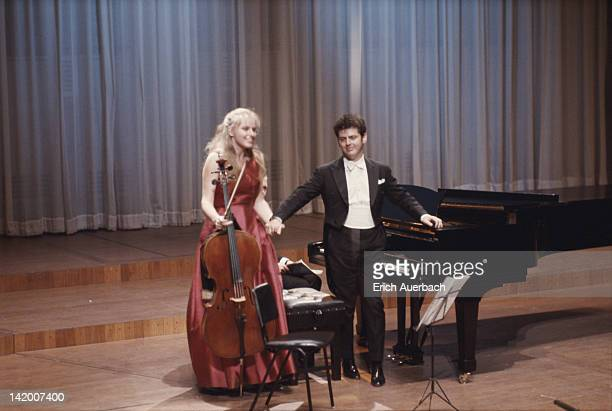 Newlywed musical team Jacqueline du Pre and Argentineborn pianist Daniel Barenboim in concert at the Queen Elizabeth Hall London 1967