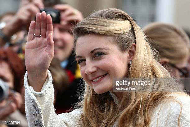 Newlywed Princess Stephanie of Luxembourg walks amongst the crowds following the civil ceremony for the wedding of Prince Guillaume of Luxembourg and...