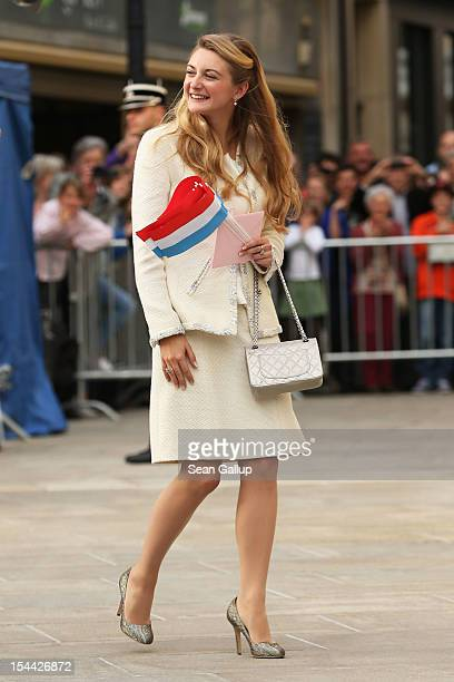 Newlywed Princess Stephanie of Luxembourg walks towards the GrandDucal Palace following the civil ceremony for the wedding of Prince Guillaume of...
