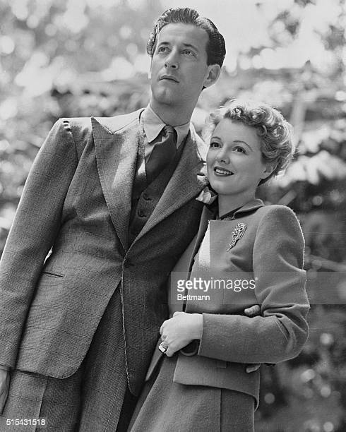 Newlyweds actress Janet Gaynor and fashion designer Gilbert Adrian in Yuma Arizona The couple who had been engaged for nearly a year were married...