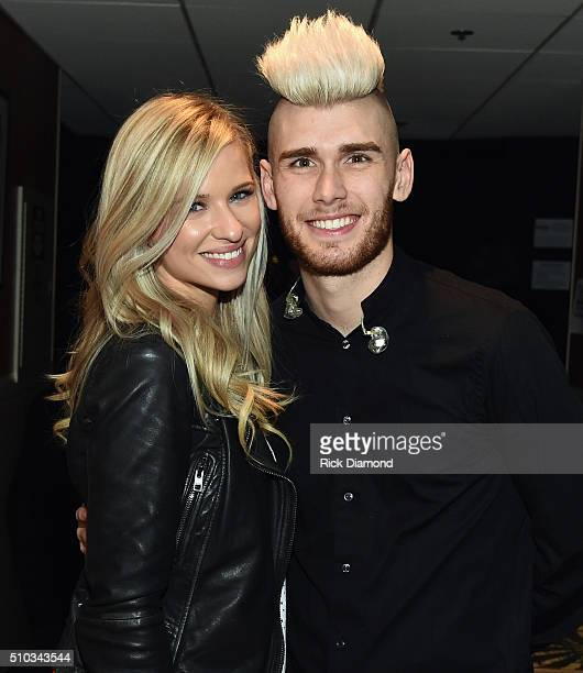 Newlyweds Annie and Colton Dixon backstage at Sam's Place Music For The Spirit at Ryman Auditorium on February 14 2016 in Nashville Tennessee