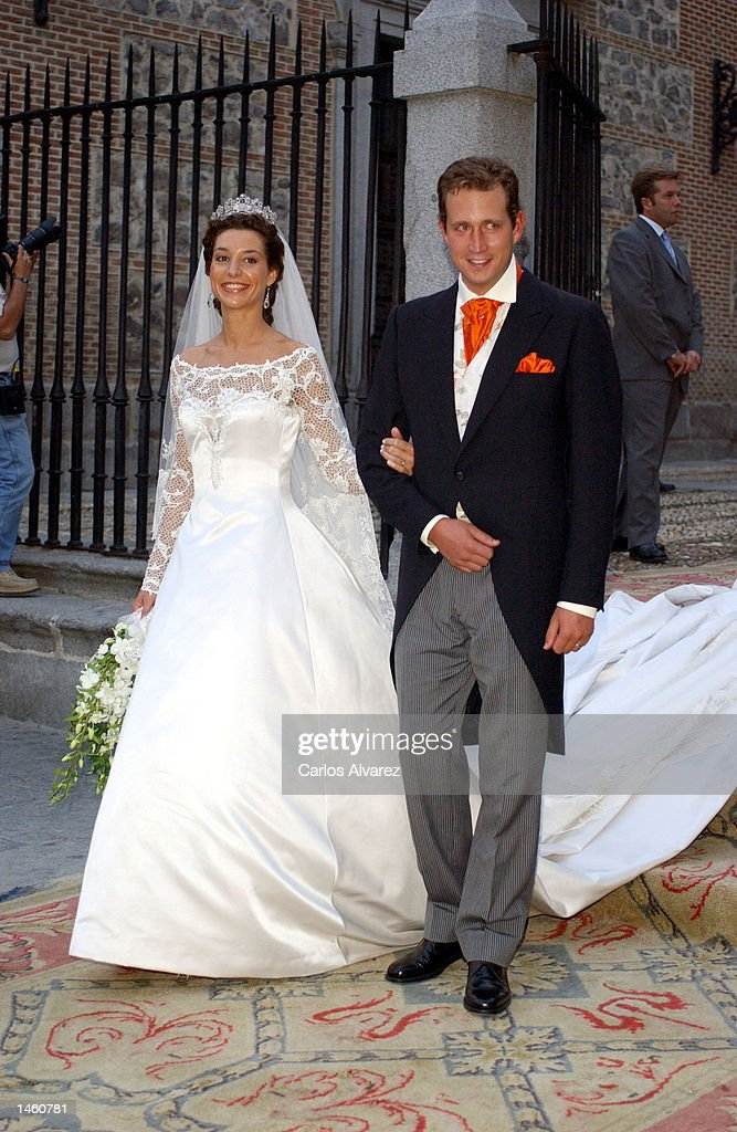 Newlyweds Barbara Cano and Bruno Gomez Acevo after their wedding October 5, 2002 in Madrid, Spain.