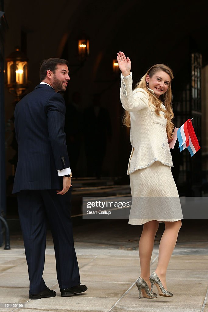 Newlyweds Crown Prince Guillaume and Princess Stephanie of Luxembourg walk towards the Grand-Ducal Palace following the civil ceremony for the wedding of Prince Guillaume of Luxembourg and Stephanie de Lannoy at the Hotel De Ville on October 19, 2012 in Luxembourg, Luxembourg. The 30-year old hereditary Grand Duke of Luxembourg is the last hereditary Prince in Europe to get married, marrying his 28-year old Belgian Countess bride in a lavish 2-day ceremony.