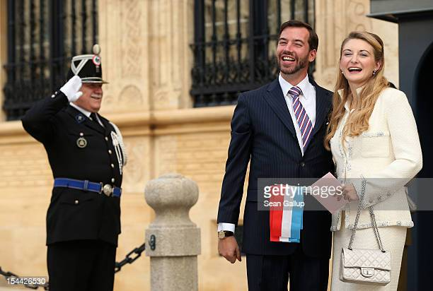 Newlyweds Crown Prince Guillaume and Princess Stephanie of Luxembourg pose outside the Grand-Ducal Palace following the civil ceremony for the...