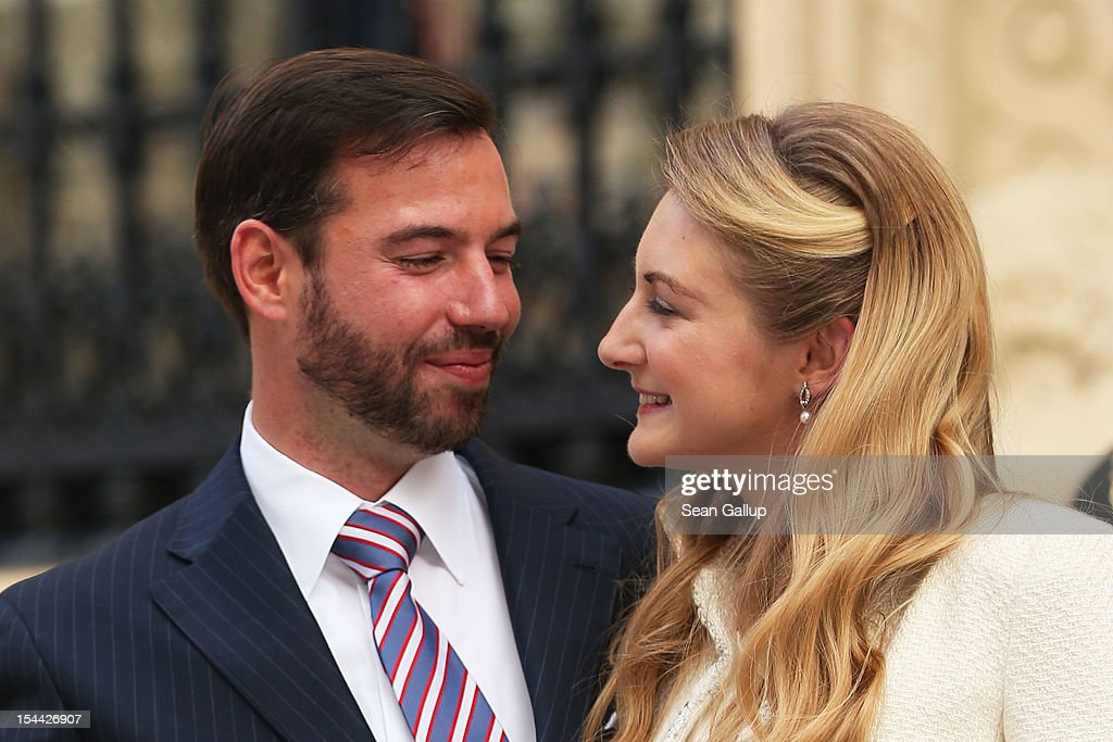 Newlyweds Crown Prince Guillaume and Princess Stephanie of Luxembourg pose outside the Grand-Ducal Palace following the civil ceremony for the wedding of Prince Guillaume of Luxembourg and Stephanie de Lannoy at the Hotel De Ville on October 19, 2012 in Luxembourg, Luxembourg. The 30-year old hereditary Grand Duke of Luxembourg is the last hereditary Prince in Europe to get married, marrying his 28-year old Belgian Countess bride in a lavish 2-day ceremony.