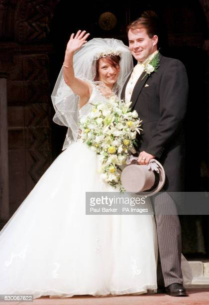 Newlyweds Denise Bulger and Stuart Fergus at St Chad's Church Kirkby Liverpool Denise met Stuart two years ago after her marriage to her husband...