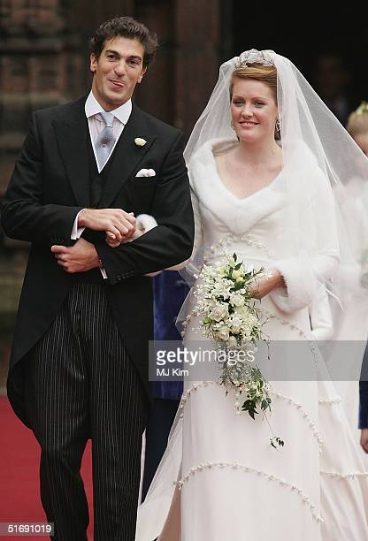 Newlyweds Ed Van Cutsem and Lady Tamara Grosvenor leave their wedding service at Chester Cathedral on November 6 2004 in Chester England Lady Tamara...