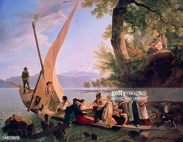 Newlyweds embarking by Wolfgang Adam Toepffer Geneva Musée D'Art Et D'Histoire