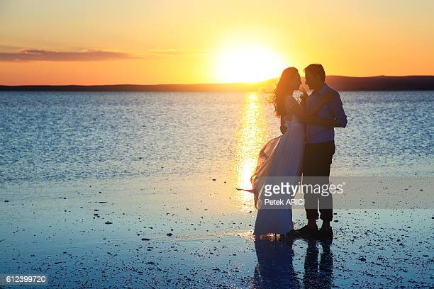 Newlyweds in Salt lake, Turkey