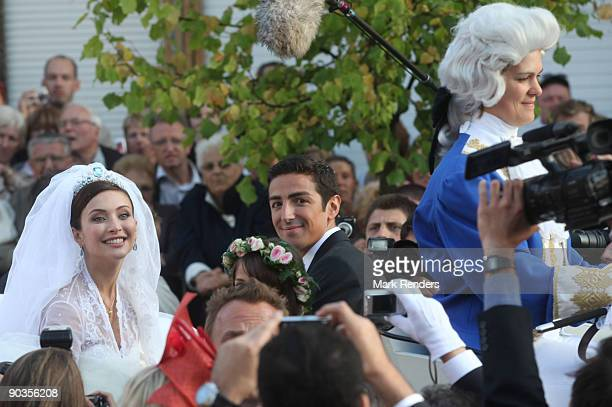 Newlyweds Isabella Orsini and Prince Edouard de Ligne de la Tremoille leave the Antoing church after their wedding on September 5 2009 in Antoing...