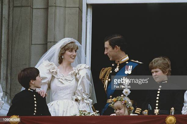 Newlyweds Prince Charles and Princess Diana Princess of Wales on the balcony at Buckingham Palace to greet the crowds London 29th July 1981 Their...