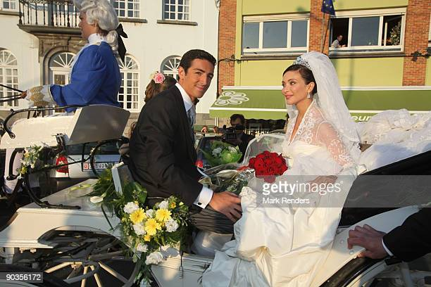 Newlyweds Prince Edouard de Ligne de la Tremoille and Isabella Orsini leave the Antoing church after their wedding on September 5 2009 in Antoing...