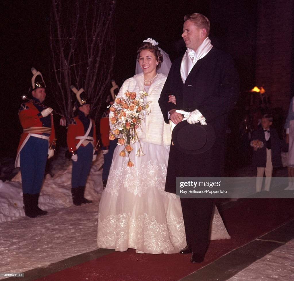 Newlyweds Princess Astrid of Norway and Johan Ferner leaving Asker Church in Oslo after their wedding on 12th January 1961.
