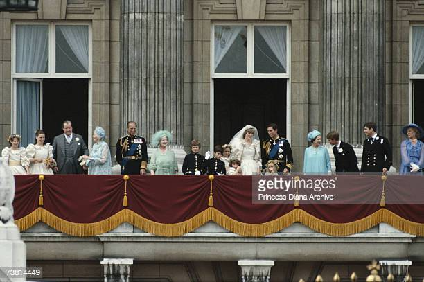 Newlyweds Princess Diana and Prince Charles with the Queen and other members of the Royal Family on the balcony at Buckingham Palace 29th July 1981