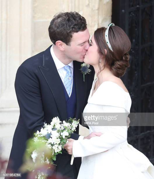 Newlyweds Princess Eugenie of York and Mr 2 leave following their wedding at St George's Chapel on October 12 2018 in Windsor England