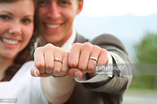 newlyweds show off their new status with rings - utah wedding stock pictures, royalty-free photos & images