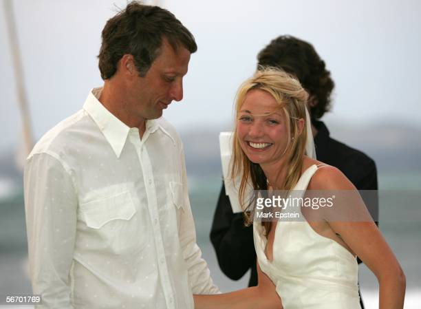 Newlyweds Tony Hawk and Lhotse Merriam photographed at their wedding ceremony January 12 2006 on the Island of Tavarua in Fiji