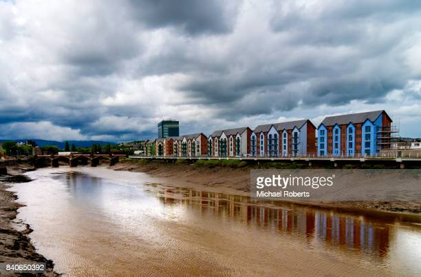 newport and the river usk from the millennium bridge - newport wales stock pictures, royalty-free photos & images