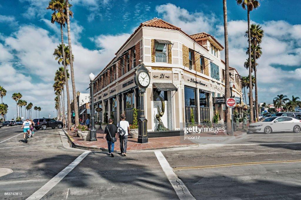 Newport Beach Balboa Village Street View Stock Photo