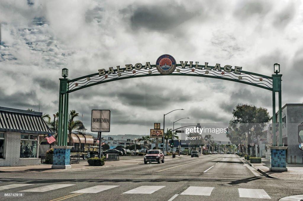 Newport Beach Balboa Village Welcome Sign Stock Photo