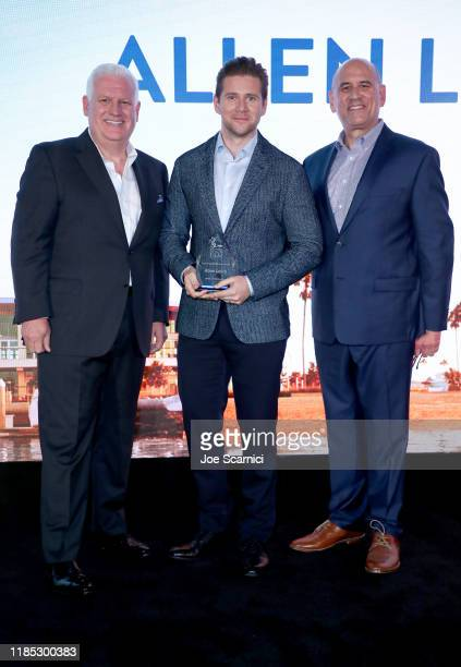 Newport Beach Company President and CEO Gary Sherwin Allen Leech and NBFF CEO Gregg Schwenk pose onstage during the Newport Beach Film Festival Fall...