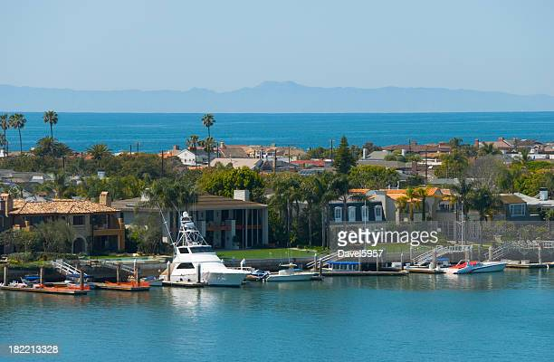 newport beach harbor and ocean view - newport beach stock pictures, royalty-free photos & images