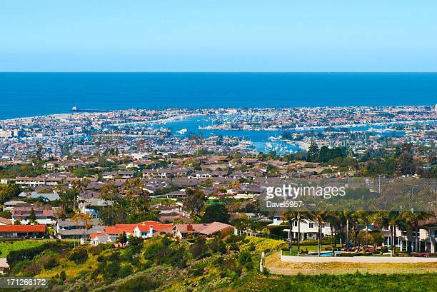 newport beach houses and harbor aerial - newport beach stock pictures, royalty-free photos & images