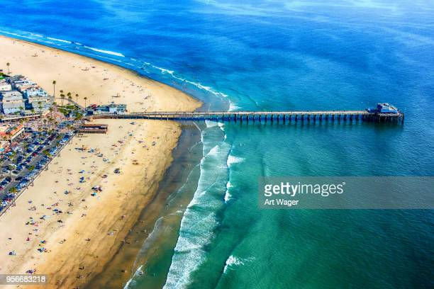 newport beach pier aerial - newport beach stock pictures, royalty-free photos & images