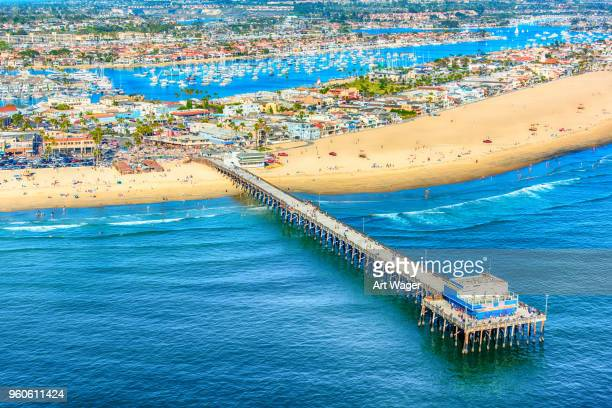newport beach pier from above - newport beach stock pictures, royalty-free photos & images