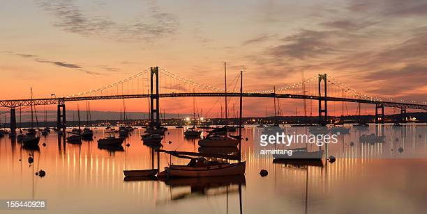 newport bridge at sunrise - newport rhode island stock pictures, royalty-free photos & images