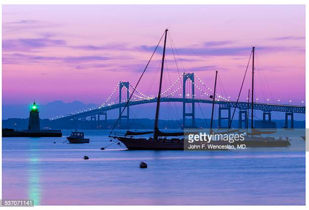 newport bridge - newport rhode island stock pictures, royalty-free photos & images