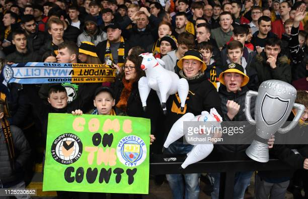 Newport County AFC fans enjoy the pre match atmosphere prior to the FA Cup Fifth Round match between Newport County AFC and Manchester City at Rodney...