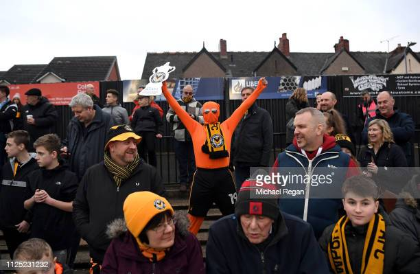 Newport County AFC fans show their support prior to the FA Cup Fifth Round match between Newport County AFC and Manchester City at Rodney Parade on...