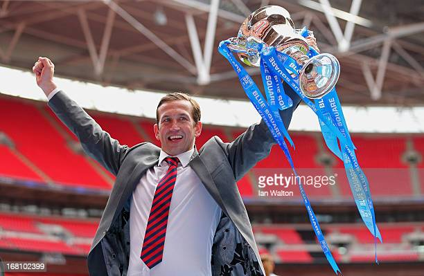 Newport County A.F.C manager Justin Edinburgh celebrates with the trophy after winning the Blue Square Bet Premier Conference Play-off Final between...