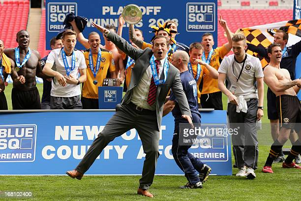 Newport County AFC manager Justin Edinburgh celebrates with the team after winning the Blue Square Bet Premier Conference Playoff Final between...