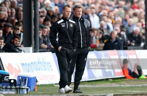 Newport County AFC manager Michael Flynn and Newport County AFC assistant manager Wayne Hatswell on the touchline during the Sky Bet League Two match...
