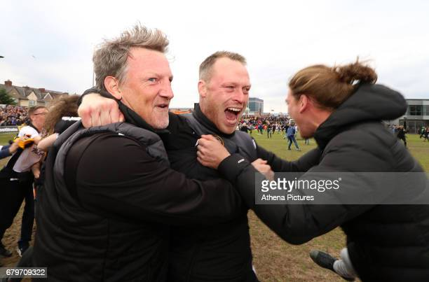 Newport County AFC manager Michael Flynn and Newport County AFC assistant manager Wayne Hatswell celebrates after the final whistle as a late goal...