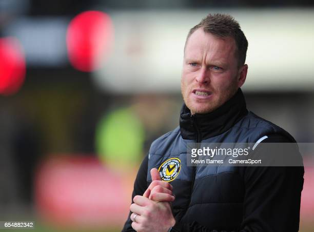 Newport County Caretaker Manager Michael Flynn during the Sky Bet League Two match between Newport County and Blackpool at Rodney Parade on March 18...