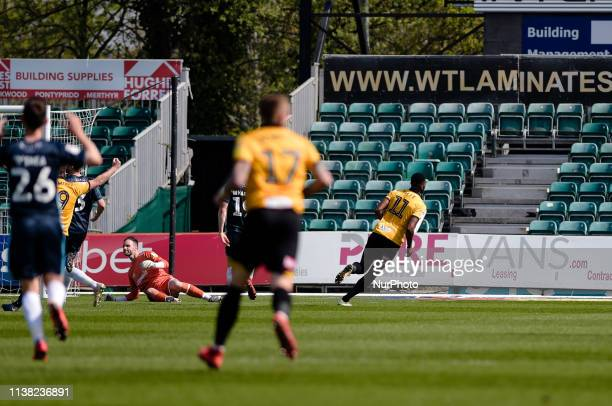Newport County forward Jamille Matt puts Newport 21 up during the Sky Bet League 2 match between Newport County and Bury at Rodney Parade Newport on...