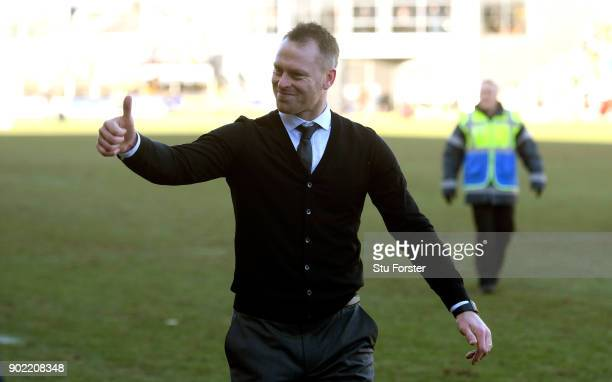 Newport County manager Michael Flynn celebrates after The Emirates FA Cup Third Round match between Newport County and Leeds United at Rodney Parade...