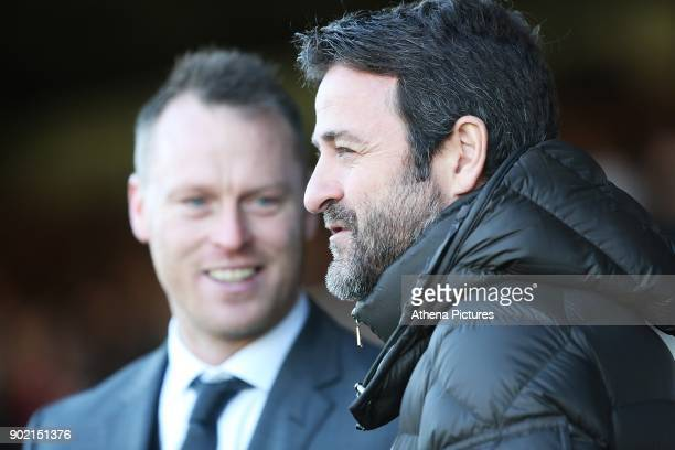 Newport County manager Michael Flynn laughs with Leeds United manager Thomas Christiansen prior to kick off of the Fly Emirates FA Cup Third Round...